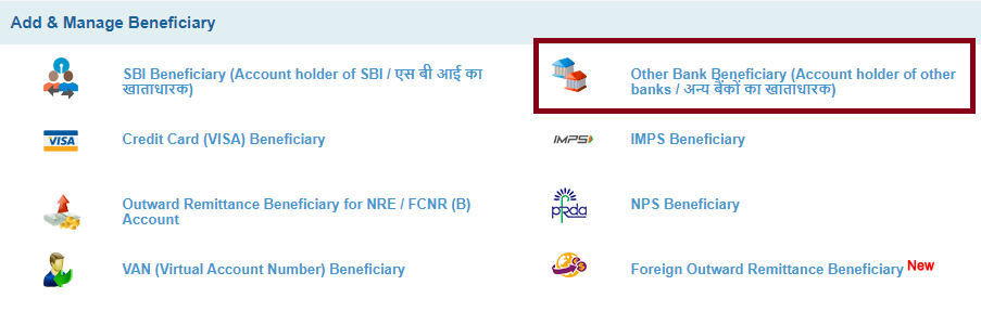 Click Other Bank Beneficiary
