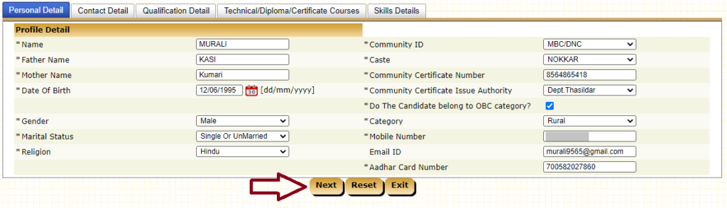 Enter Your Personal Details and Click Next