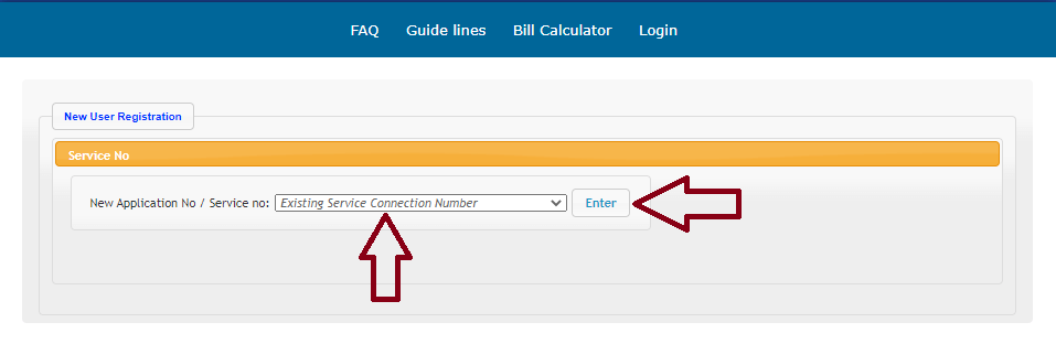 Select Existing Service Connection Number