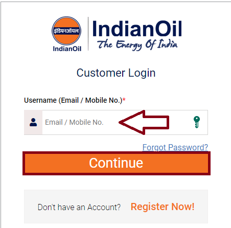 Enter username and Click Continue - Indane gas cylinder booking