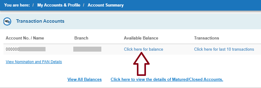 Click For Your SBI Balance Checking
