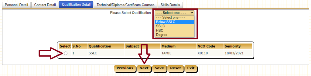 Select Qualification and Click Next