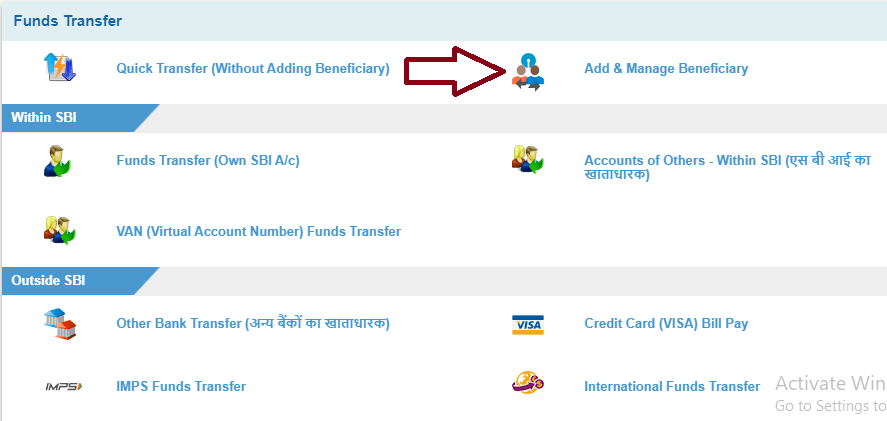 Select Add & Manage Beneficiary - SBI Bank Money Transfer
